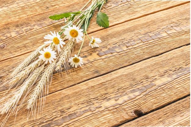 카모마일 꽃 꽃다발과 나무 판자에 마른 밀 이삭. 평면도.