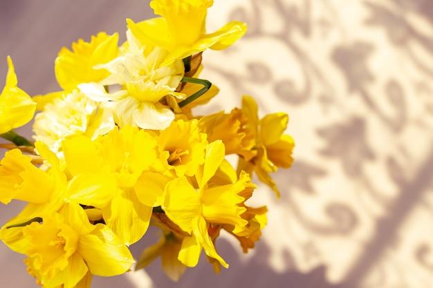 水仙の花束。テーブルの上の美しい透かし彫りの影。最初の春の花。