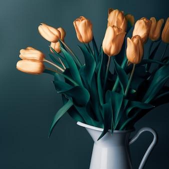 Букет нежных цветов тюльпана в винтажном белом кувшине