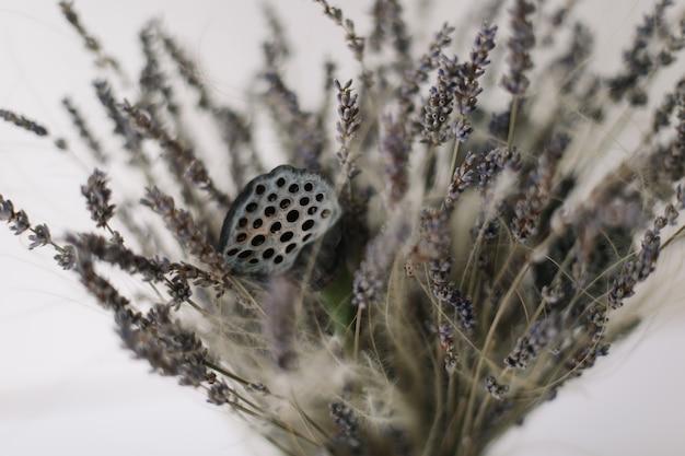 Букет из сушеных цветов лаванды и лотоса