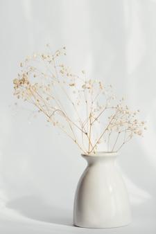 Букет из сухих цветов гипсофилы в белой вазе на светлом фоне