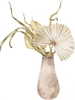 エキゾチックな植物とヤシの木の花束は、セラミック花瓶に残します。水彩ベージュ乾燥熱帯イラスト。
