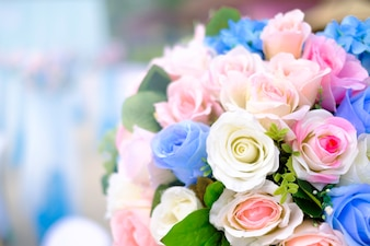 Bouquet of flowers and wedding blur background