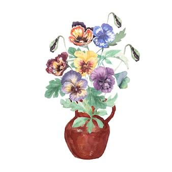 水彩風の花の花束