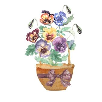 水彩風のバスケットと花の花束 Premium写真