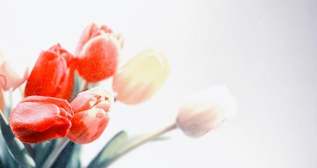 Букет живых цветов. праздничный подарок любимому человеку. фон день святого валентина. роза, тюльпан, ирис.