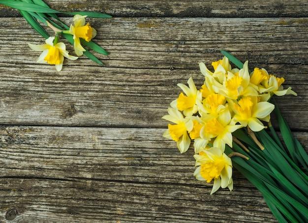 Букет из свежих весенних цветов нарциссов