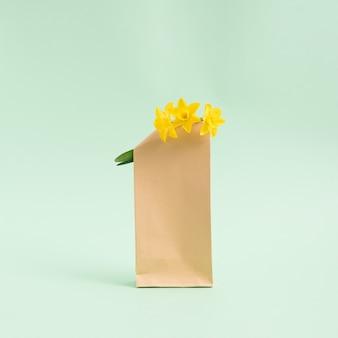 Букет цветов гиацинтов в коричневом бумажном пакете на пастельном светло-зеленом фоне. минималистическая концепция. площадь с копией пространства.