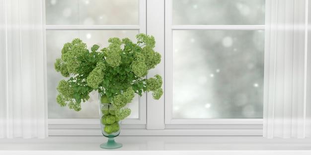 넓은 흰색 창, 3d 일러스트의 창턱에 서있는 흥미로운 녹색 꽃의 꽃다발