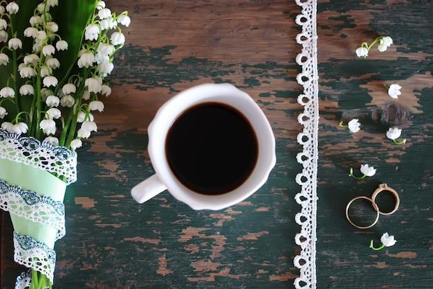 スズランの花束とモーニングコーヒー