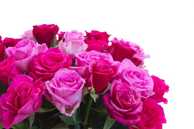 ピンクとマゼンタのバラの花のクローズアップの花束は、白い背景で隔離