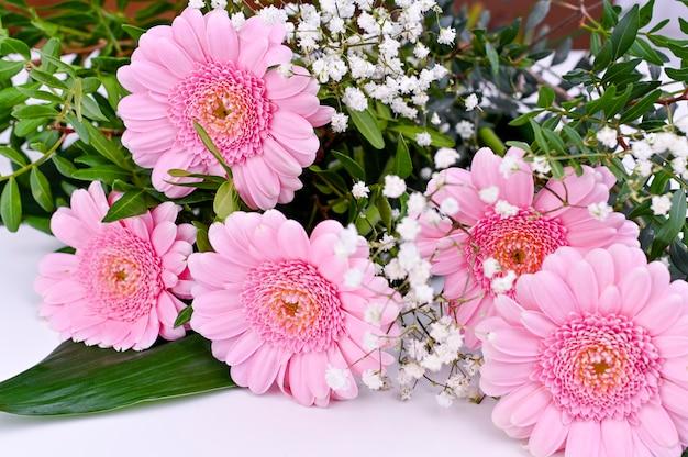 Букет из розовых гербер на белом фоне. празднование женского дня и дня матери. свободное место для текста