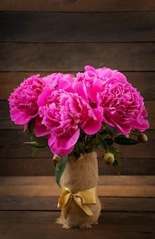 ピンクの牡丹の花束