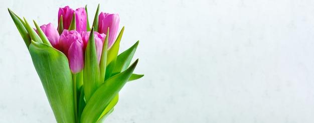 明るい背景の上のピンクのチューリップの花束