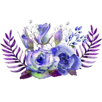 Букет из роз, листьев, ягод, декоративных веточек. концепция свадьбы с цветами. акварельная композиция в голубых тонах для поздравительных открыток или приглашений.