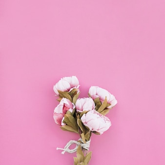 Bouquet of roses on beautiful pink background