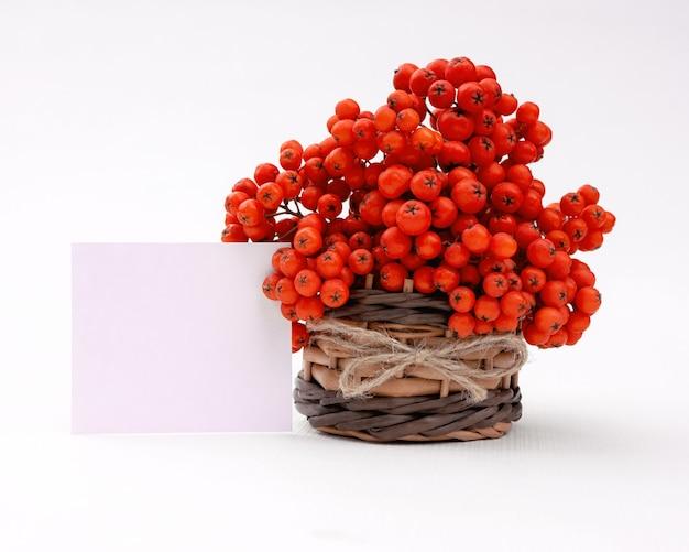 Букет из гроздей рябины в плетеной корзине с бантом