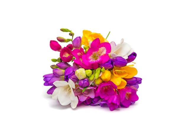 小枝のフリージアの花の花束