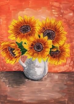 ひまわりの花束テーブルの上の白い花瓶の黄色い花抽象的な背景