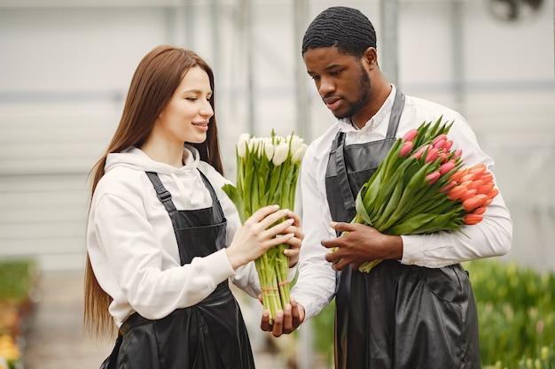 Букет тюльпанов в парне. парень и девушка в оранжерее. садовники в фартуках.