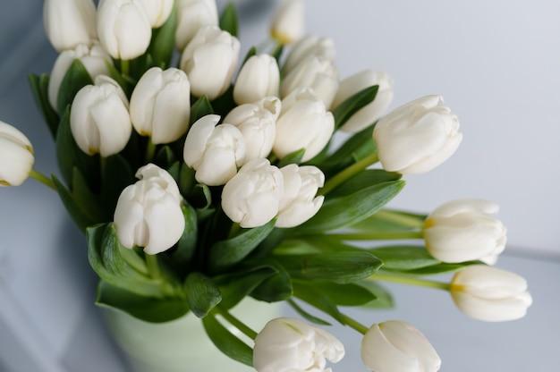 Букет тюльпанов перед весенней сценой