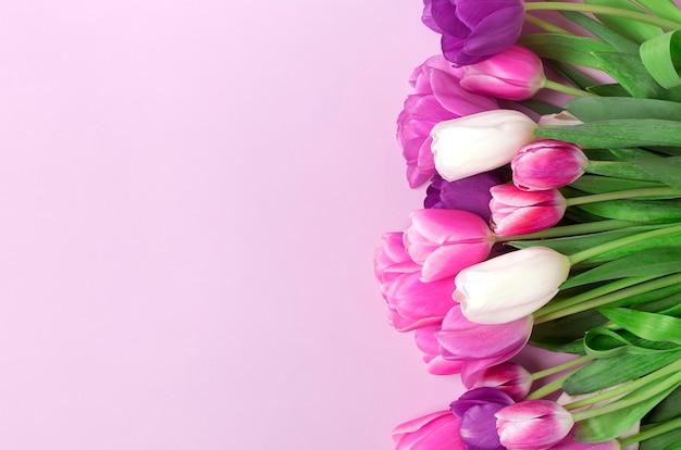 분홍색 배경에 고립 된 튤립 꽃다발입니다. 평면도 평면 위치