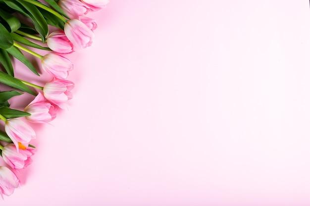 분홍색 배경에 튤립 꽃다발입니다. 평면도, 평면 평신도 스타일.