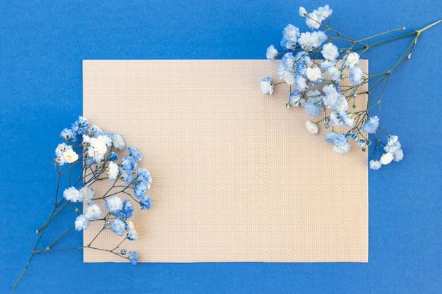 Букет из бело-голубых цветов гипсофилы. место для вашего текста, скопируйте пространство. красивый нежный фон для надписи, открытки.