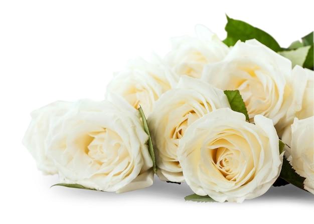 회색 바탕에 흰 장미 꽃다발