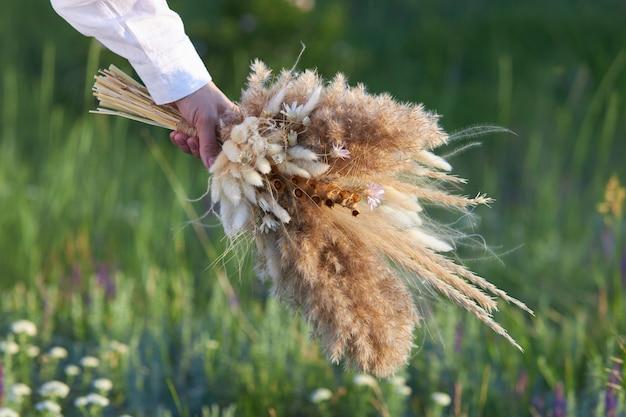 女性の手で野生のドライフラワーの花束