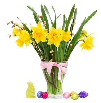 白で隔離されるイースターエッグと花瓶の黄色い水仙の花と尾状花序の花束
