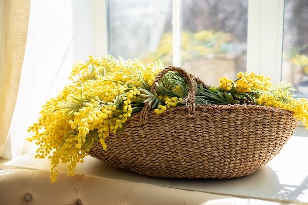 Букет желтых цветов мимозы в плетеной корзине у окна