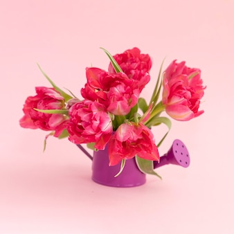 Bouquet of pink tulips in a vase in the form of a watering can.