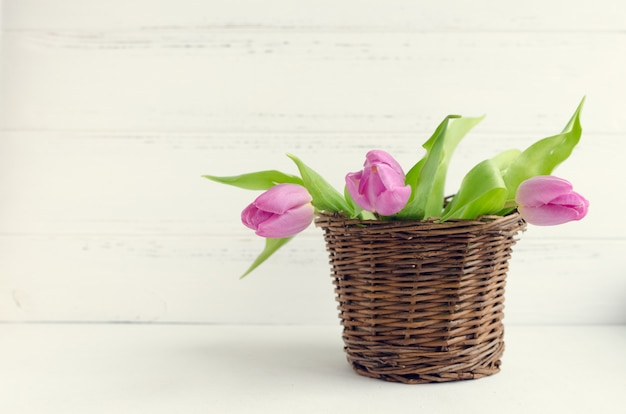 Tulips White Wooden Surface And Pink Background Free