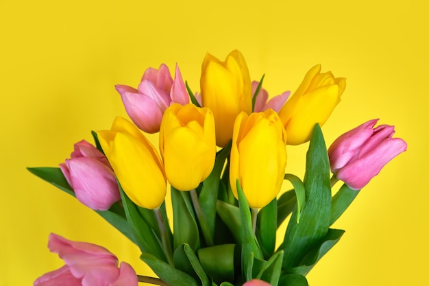Bouquet of pink and yellow tulips on yellow surface
