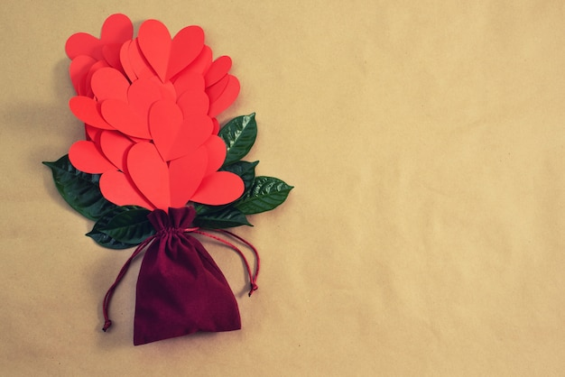 Bouquet of red hearts gift concept of valentine's day