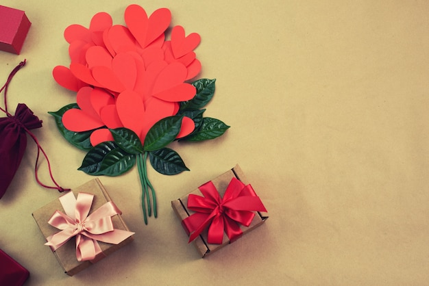 Bouquet of red hearts gift satin ribbon bow concept of valentine's day, birthday, women's day