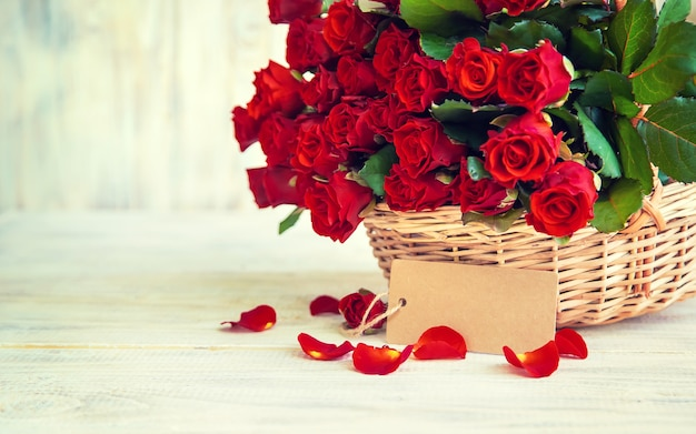Bouquet of red roses, a gift for valentine's day. selective focus. holiday.