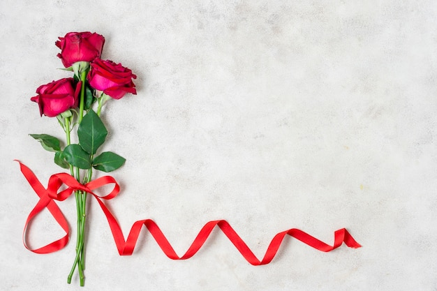 Bouquet of red roses with ribbon
