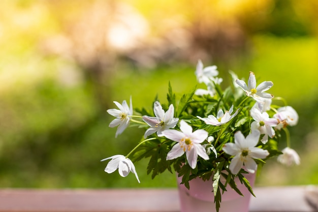 Bouquet of snowdrops in a little vase on nature background