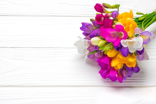 Bouquet of sprig freesia flowers