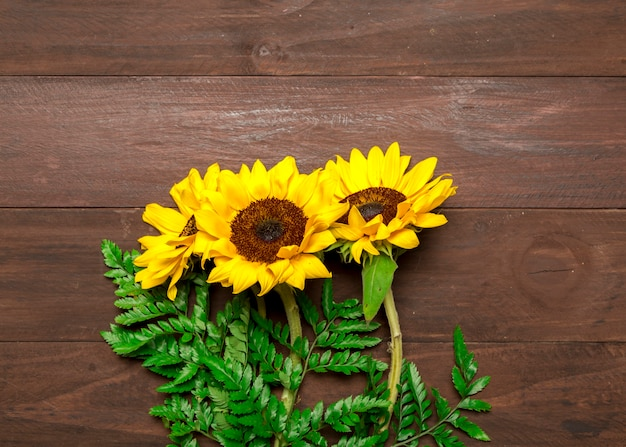 Bouquet of sunflowers and fern leaves