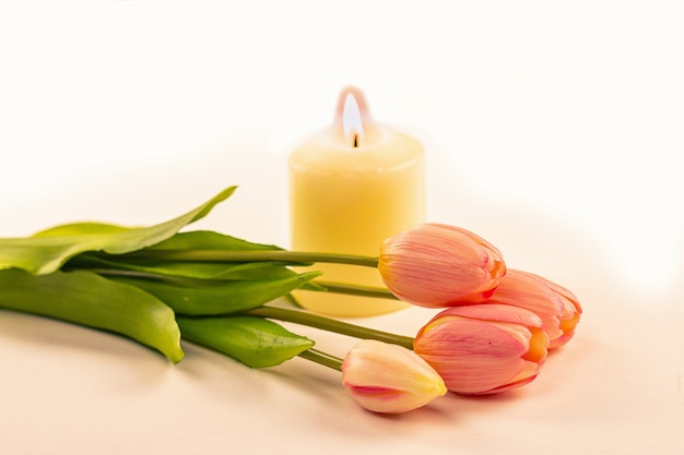 Bouquet of tulips on the background of a burning white candle, selective focus.