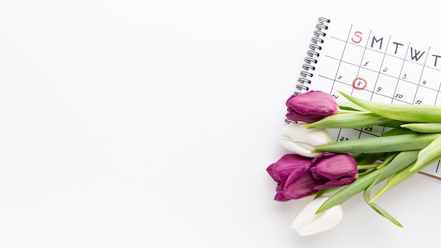 Bouquet of tulips next to calendar with copy space