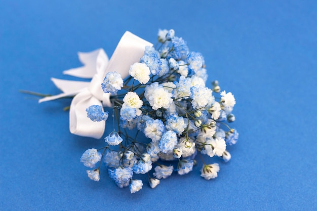Bouquet of white-blue gypsophila flowers. with a white bow on a blue background.