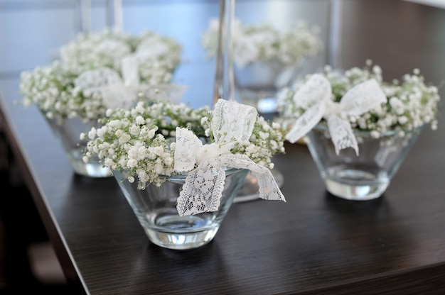 Bouquet of white flowers on the table