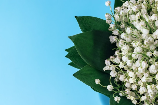 Bouquet of white lilies of the valley in green leaves on a soft blue background with copy space. selective focus. closeup view.