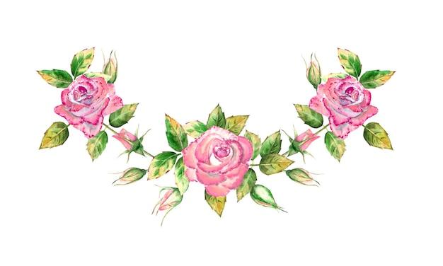 3 つのピンクのバラの花、緑の葉、開いた花と閉じた花の花束