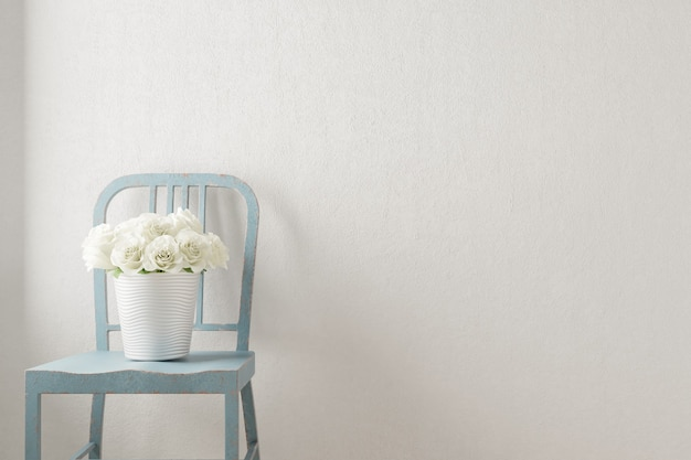 자에 흰색 꽃 꽃다발