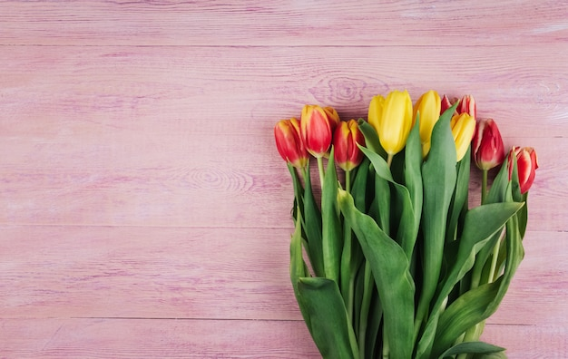 Bouquet of yellow, red and pink tulips on a pink wooden background copy space.